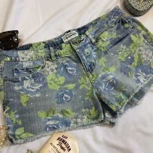 Aeropostale Denim Floral Shorts 7/8 stretch A27